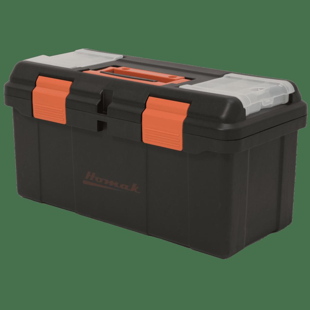 23 black plastic toolbox with beveled lid homak manufacturing. Black Bedroom Furniture Sets. Home Design Ideas
