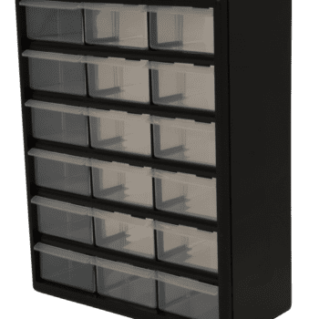 black storage with 18 clear drawers