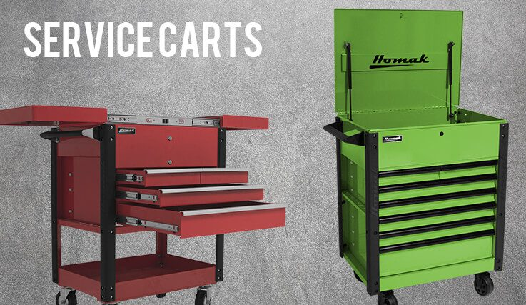 red and green tool carts